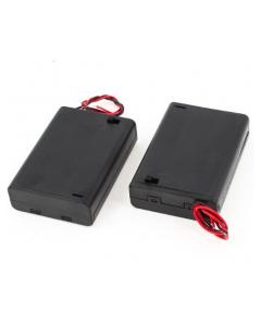 3XAA Batteri Holder - Med cover og kontakt