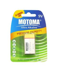 9V Batteri Alkaline (6LR61) - 1 stk Motoma
